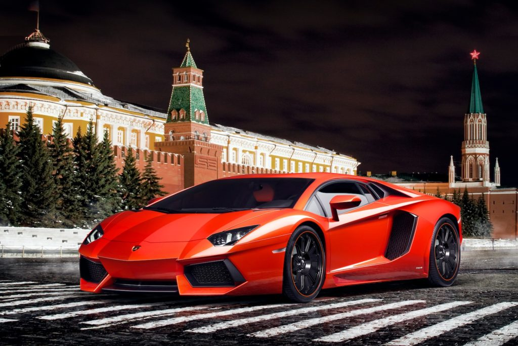 Lamborghini Aventador in Moscow. The city is rich. And waiting for your Moscow Bachelor Party